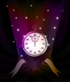Gift revelation with stopwatch at glittering stars vector — Stock Vector