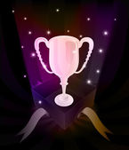 Gift revelation with champion cup at glittering stars vector — 图库矢量图片