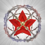 Socialistic star in barbed sphere prison — Stock Photo