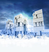 Modern business city with snoflake frame — Stock Photo