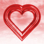 在天空中的红色心形 flare 的正面视图 — 图库照片