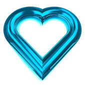 Isolated glassy blue heart shape front view — Zdjęcie stockowe