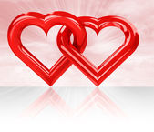 Two red glossy hearts — Stock Photo