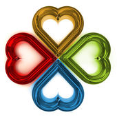 Four colored hearts shape — Stock Photo