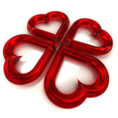 Four red heart shape — Stock Photo