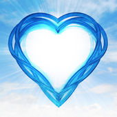 Blue glassy shaped heart — Stockfoto