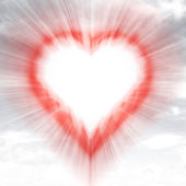 Modern red shaped heart blurred in sky flare — Stock Photo