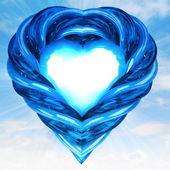 Modern blue glassy tube shaped heart in sky flare — Stock Photo