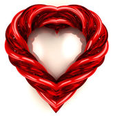 Modern red glassy tube shaped heart isolated on white — ストック写真
