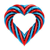 Red and blue glassy tube shaped heart isolated on white — 图库照片