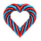 红色和蓝色的玻管形孤立的白色衬底上的心 — 图库照片