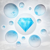 Blue pure diamond with glossy bubbles in the air with flare — Stock Photo
