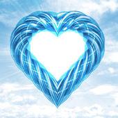 Blue glassy tube shaped heart in sky flare — Foto de Stock