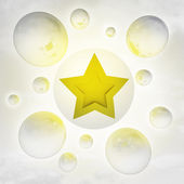 One golden star with glossy bubbles in the air with flare — Stock Photo