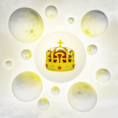 Golden royal crown with glossy bubbles in the air with flare — Stock Photo