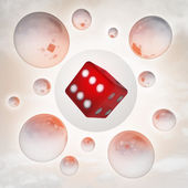 Lucky red cube with glossy bubbles in the air with flare — Stock Photo