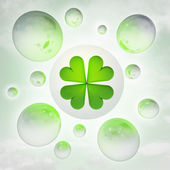 Cloverleaf luck with glossy bubbles in the air with flare — Stock Photo