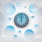Reloj azul con brillantes burbujas en el aire con la llamarada — Foto de Stock
