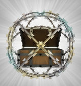Protected treasure in barbed sphere fence — Stockfoto