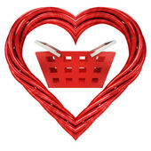 Red pipe shaped heart — Stock Photo