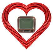 Red pipe shaped heart — 图库照片