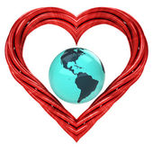Red pipe shaped heart — Stok fotoğraf