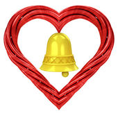 Red pipe shaped heart — Stockfoto