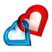 Szklisty serca razem — Zdjęcie stockowe