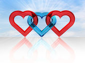 Glassy heart together — Stockfoto