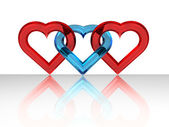 Glassy heart together — Stock Photo