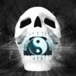 Human skull with harmony sign in jaws — Stock Photo #42649111