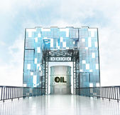 Oil barrel under gateway building — Stock Photo