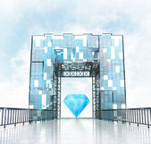 Blue diamond under gateway building — Foto de Stock