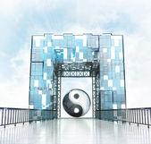 Harmony under gateway building — Stock Photo