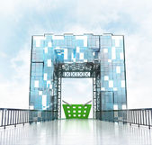 Trade basket under gateway building — Stock Photo
