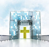 Golden cross under gateway building — Stock Photo