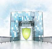 Shield under gateway building — 图库照片