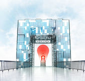 Red bulb under gateway building — Stock Photo
