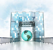 America earth globe under gateway building — Stock Photo