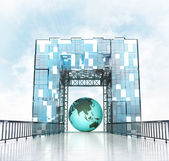 Asia earth globe under gateway building — Stock Photo