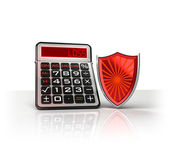 Red shield with negative business calculations — Stockfoto