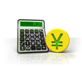 Yuan golden coin with positive business calculations — Stock Photo
