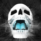 Human skull with book in jaws — Stock Photo