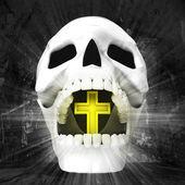 人类的头颅骨与交叉在嘴里 — 图库照片