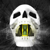 Human skull with watch in jaws — Stockfoto