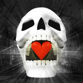 Human skull with heart in jaws — Stock Photo