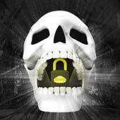 Human skull with padlock in jaws — Stock Photo