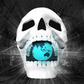 Human skull with Earth in jaws — Stock Photo