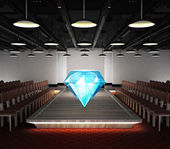 Big diamond jewel situated on fashion podium — Foto Stock