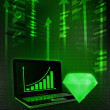 Green diamond with positive online results in business  — Zdjęcie stockowe #42650991